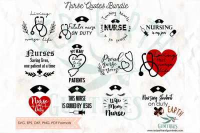 Nurse medical quotes phrases bundle SVG, PNG, EPS, DXF, PDF