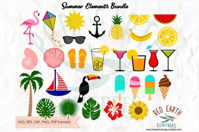 Huge summer beach elements bundle SVG, PNG, EPS, DXF, PDF