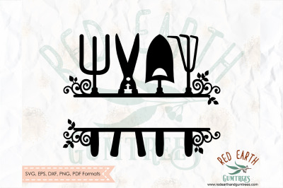 Garden farm split monogram frame SVG, PNG, EPS, DXF, PDF