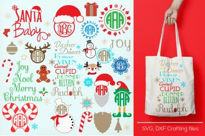 Christmas crafters Bundle monogram frames svg, cricut santa svg,reindeer svg, Designs Svg cutting file, Cricut Design Space,Digital Cut Files