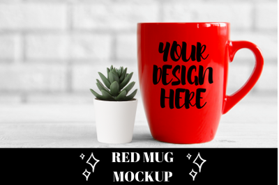 Red Cup Mug Mock up With White Brick Wall Background