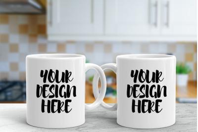 Couple White Mug Mock up|2160x1440px