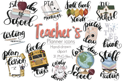 Teacher Planner Icons Clipart Kit
