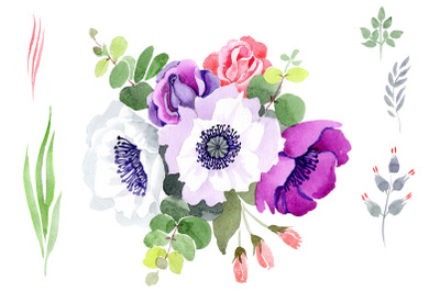 Bouquet Sweet music watercolor png