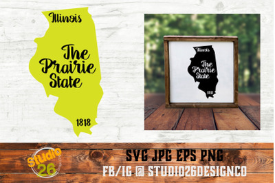 Illinois - State Nickname & EST Year - 2 Files - SVG PNG EPS