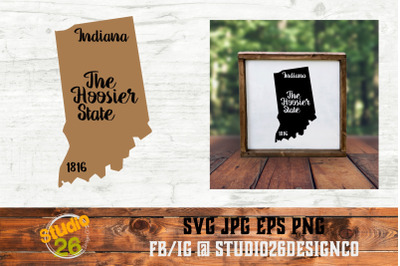 Indiana - State Nickname & EST Year - 2 Files - SVG PNG EPS