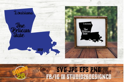 Louisiana - State Nickname & EST Year - 2 Files - SVG PNG EPS