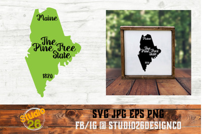 Maine - State Nickname & EST Year - 2 Files - SVG PNG EPS