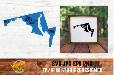 Maryland - State Nickname & EST Year - 2 Files - SVG PNG EPS