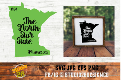 Minnesota - State Nickname & EST Year - 2 Files - SVG PNG EPS