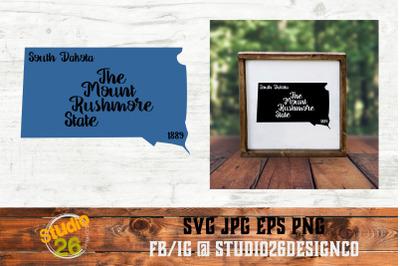 South Dakota - State Nickname & EST Year - 2 Files - SVG PNG EPS