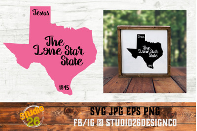 Texas - State Nickname & EST Year - 2 Files - SVG PNG EPS