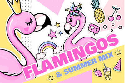 Flamingos, summer, stickers!