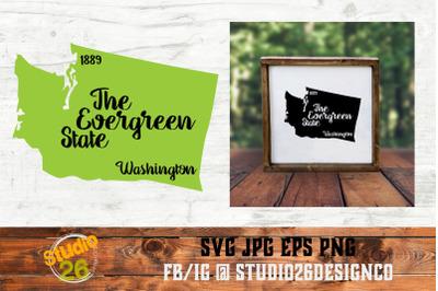 Washington - State Nickname & EST Year - 2 Files - SVG PNG EPS