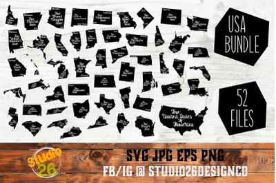 USA Bundle - State Nickname & EST Year - 52 Files - SVG PNG EPS