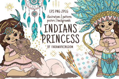 INDIANS PRINCESS Pocahontas Thanksgiving Vector Illustration Set