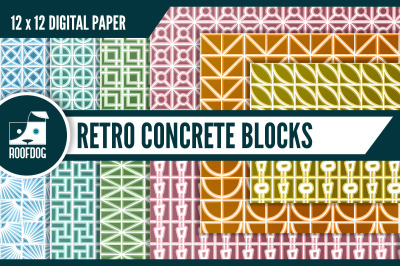 Mid century breeze blocks digital paper