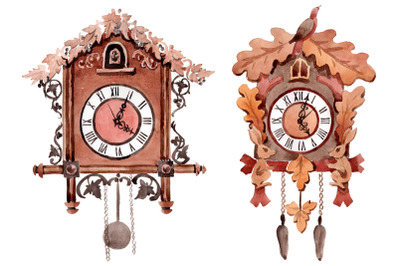 Vintage wall clock watercolor png