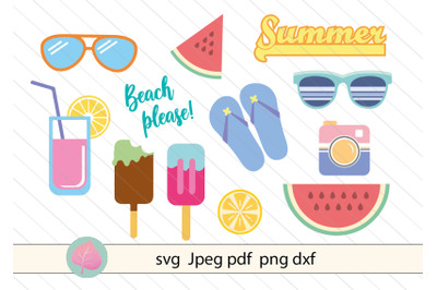 Summer bundle svg, watermelon, sunglasses, flip flop, ice cream vector