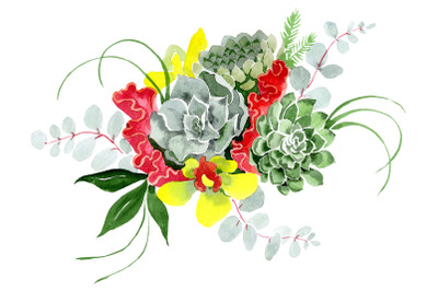 "Bouquet ""Long-awaited happiness"" watercolor png"