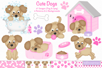 Cute Dog clipart, Dog graphics -C36