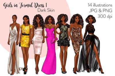 Watercolor Fashion Clipart - Girls in Formal Dress 1 - Light Skin