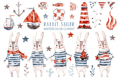 Cute Rabbit sailor. Kids watercolor sea clipart. Baby Bunny animals