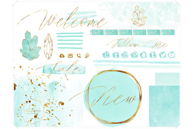 Mint Blue Watercolor and Gold Design Bundle