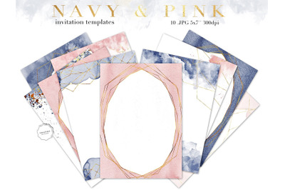 Navy Blue and Pink Invitation Template