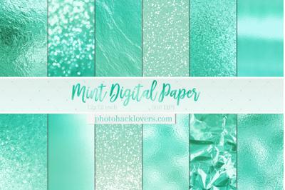 Mint Metallic Digital Paper