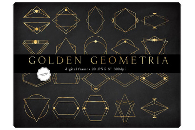 Gold Geometric Frames Clipart