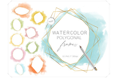 Colorful Watercolor Polygonal Frames