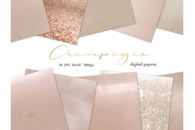 Champagne Color Metallic Texture Paper