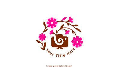 Girl photographer logo with flower