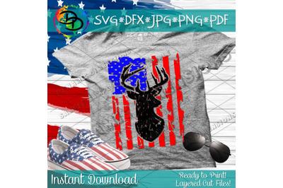 Distressed American Flag svg, hunting svg, deer svg, distressed flag,
