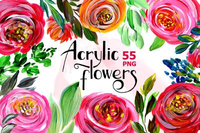 Acrylic watercolor flowers, floral set