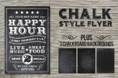 Chalk Happy Hour Flyer