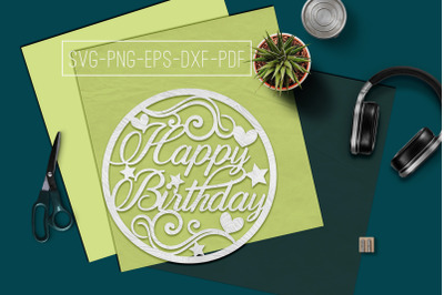 Birthday Circle Papercut Template, Birthday Decor SVG, PDF
