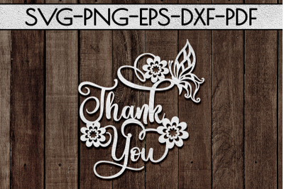 Thank You 1 Papercut Template, Spring Appreciation SVG, PDF