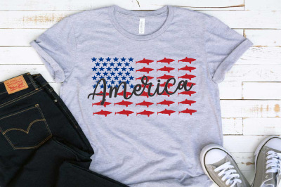 Patriotic Shark Svg American Flag Fishing Summer 1411s