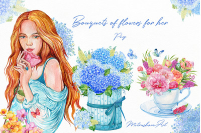 Watercolor Flower Bouquets in boxes