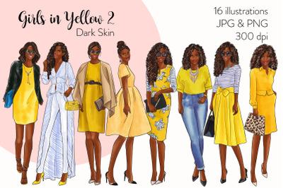 Watercolor Fashion Clipart - Girls in Yellow 2 - Dark Skin