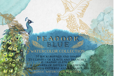 """Peacock Blue"" Watercolor Collection"