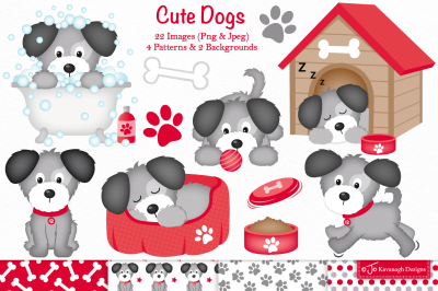 Dog clipart, Cute dogs -C37