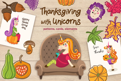 Thanksgiving with unicorns. Graphic collection