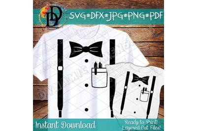 suspenders svg, Shirt pocket svg, onesie svg, Baby svg, tux svg, bow t