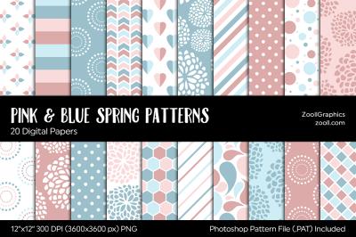 Pink & Blue Spring Digital Papers