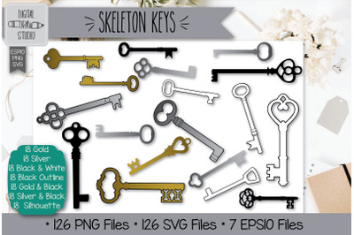 126 Skeleton Keys Hand Drawn Illustrations Bundle