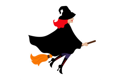 Halloween vector witch isolated on white background with black cloak a
