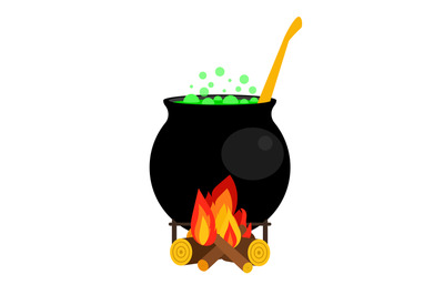 Halloween witch cauldron with green potion isolated on white